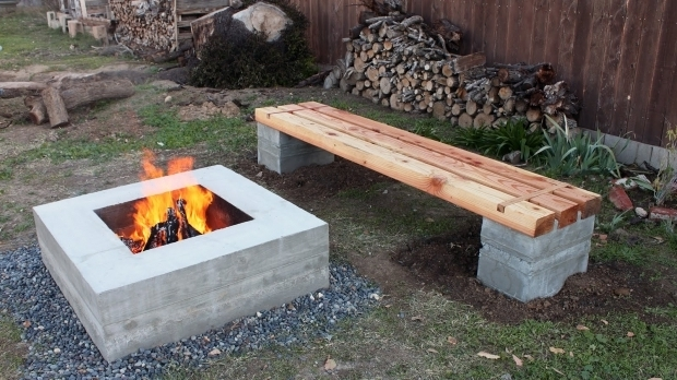 amazing concrete block fire pit how to make outdoor concrete and wood bench youtube
