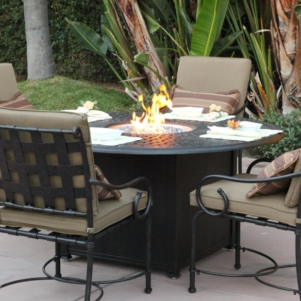 Amazing Outdoor Dining Sets With Fire Pit Darlee Malibu 5 Piece Cast Aluminum Patio Fire Pit Dining Set