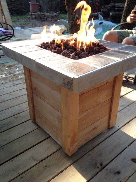 Incredible Homemade Propane Fire Pit Large Brown Lacquered Hardwood Table Which Slicked Up With Black