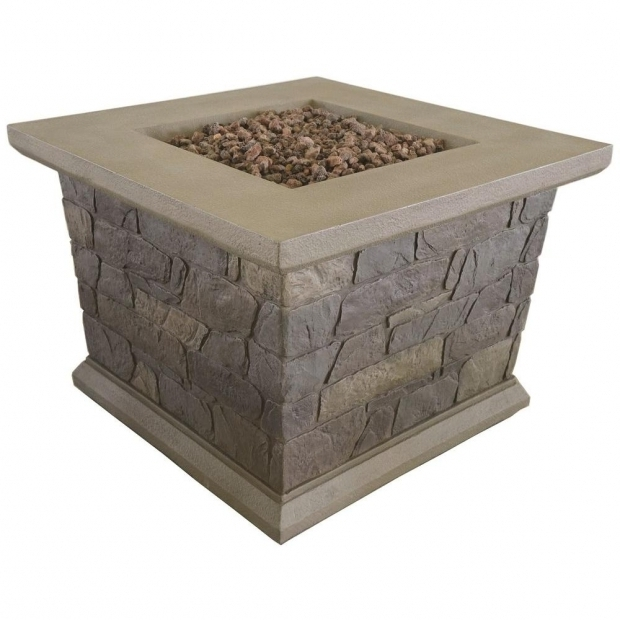 Stylish Fire Pit Rocks Home Depot Bond Manufacturing Corinthian 34 In Square Envirostone Propane
