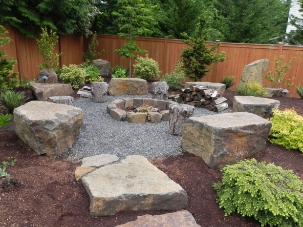 Stylish Pea Gravel Fire Pit Architecture Backyard Landscaping Ideas With Fire Pit Bench Plus