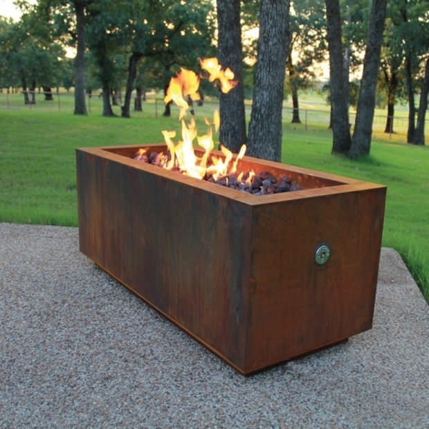 Alluring Corten Steel Fire Pit Ten Steel Fire Pit Rectangular With Optional Lid