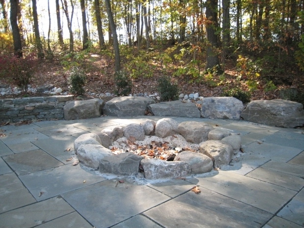 Alluring River Rock Fire Pit Pine Hurst Landscape Boulder River Rock And Flagstone Fire
