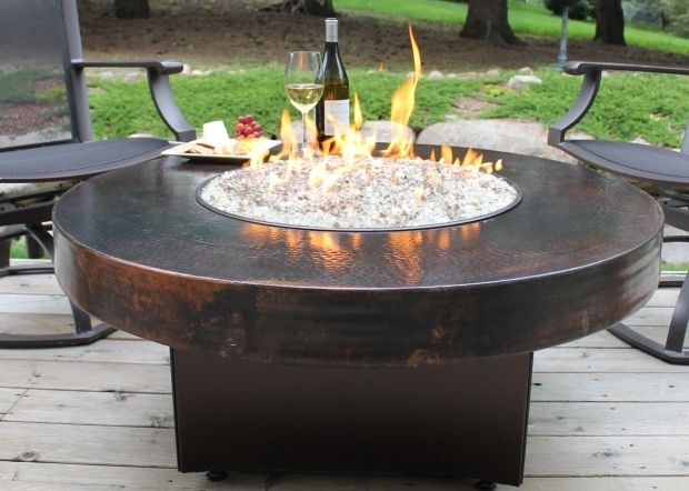 Awesome Round Gas Fire Pit Table Copper Fire Table Hammered Copper Gas Fire Table Oriflamme