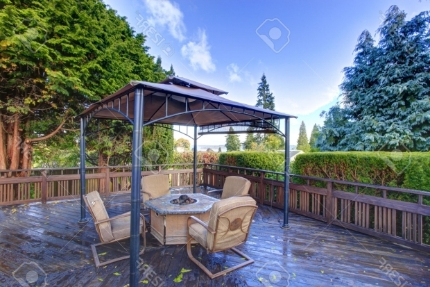 Beautiful Gazebo With Fire Pit Wooden Deck With Railings And Gazebo With Fire Pit And Chairs