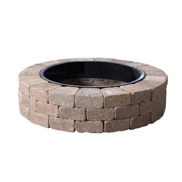 Fantastic Fire Pit Kit Home Depot Anchor Fresco 52 In X 12 In Northwoods Tan Concrete Fire Pit Kit