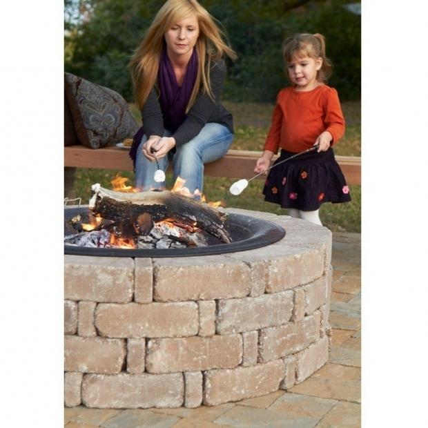 Fascinating Fire Pit Kits Home Depot Pavestone Rumblestone 46 In X 105 In Round Concrete Fire Pit