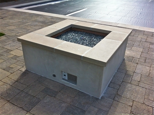 Gorgeous Gas Fire Pit With Glass Rocks Gas Fire Pit With Glass Rock San Diego Landscape