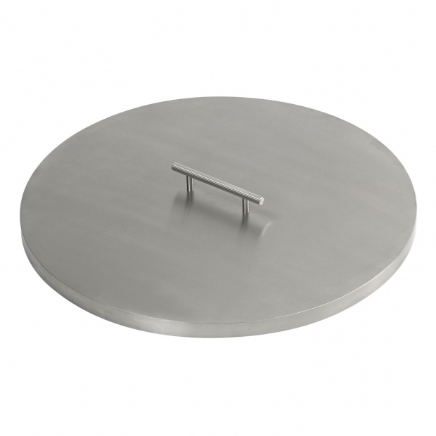 Image of Metal Fire Pit Cover Steel Cover For Round Drop In Fire Pit Pan
