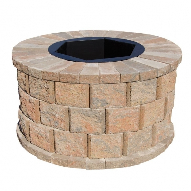 Image of Pavestone Fire Pit Pavestone Rumblestone 46 In X 14 In Round Concrete Fire Pit Kit