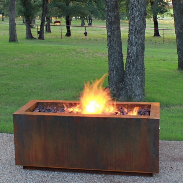 Marvelous Corten Steel Fire Pit Ten Steel Fire Pit Rectangular With Optional Lid