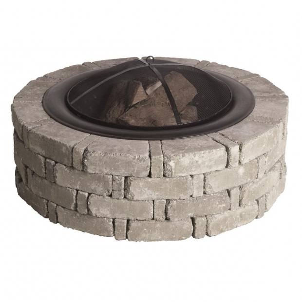 Outstanding Fire Pit Kit Home Depot Pavestone Rumblestone 46 In X 14 In Round Concrete Fire Pit Kit