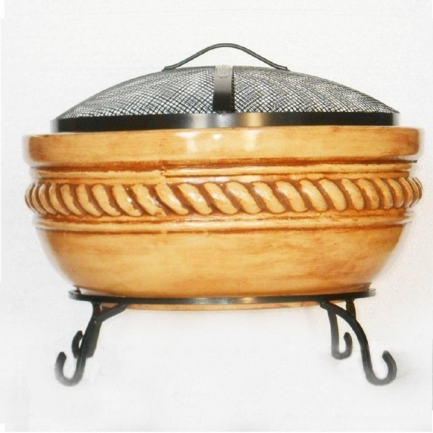 Picture of Clay Fire Pits 20 In Clay Fire Pit With Iron Stand Fp Rope The Home Depot
