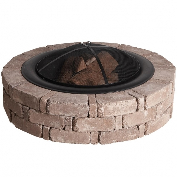 Stylish Fire Pit Kit Home Depot Pavestone Rumblestone 46 In X 105 In Round Concrete Fire Pit