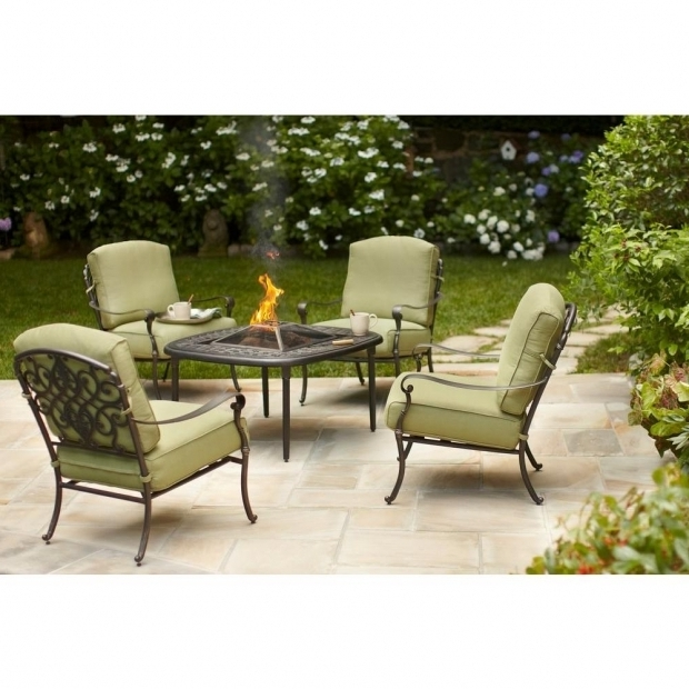 Stylish Home Depot Fire Pit Set Hampton Bay Edington 5 Piece Patio Fire Pit Chat Set With Celery