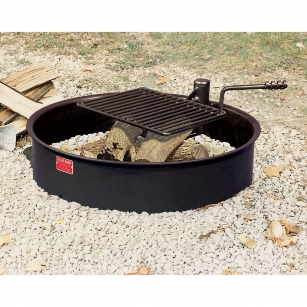 Delightful Fire Pit Metal Ring Pilot Rock Steel Fire Ring With Cooking Grate 32in Diameter
