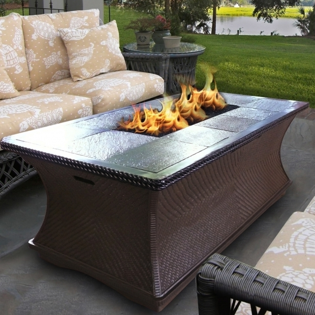 Fantastic Rectangle Fire Pit Table Patio Rectangular Fire Pit Table With Wooden Pattern Tiles And