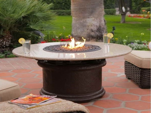 Fascinating Round Propane Fire Pit Table Patio Ideas Round Propane Fire Pits Table With Little Glass Beads