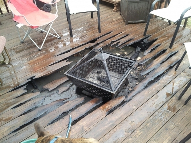 Image of Fire Pit On Wooden Deck Fire Pit For Wood Deck