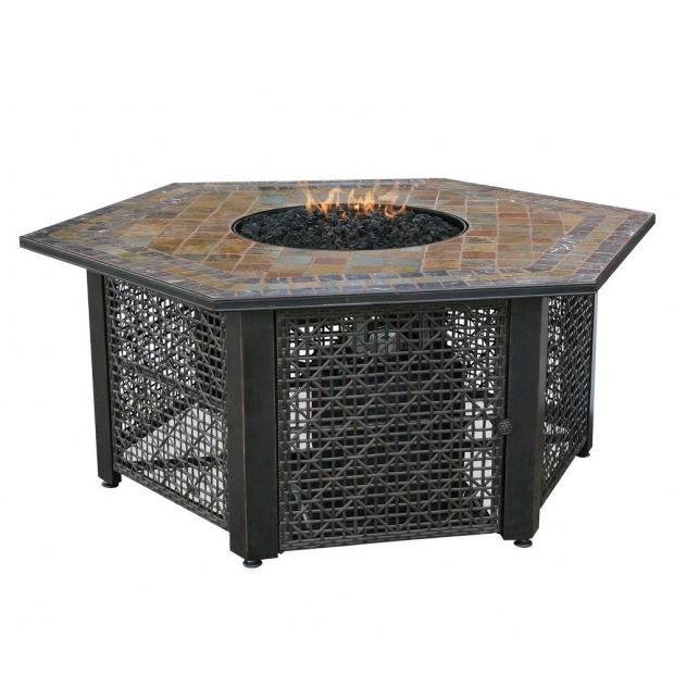 Image of Gas Fire Pit Home Depot Uniflame 21 In Slate Tile Hexagon Propane Gas Fire Pit In Bronze