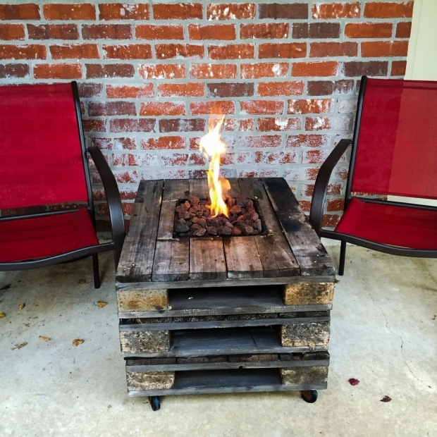 Image of Pallet Fire Pit Gas Fire Pit Built Into A Pallet Table Pallet Projects Diy Fire