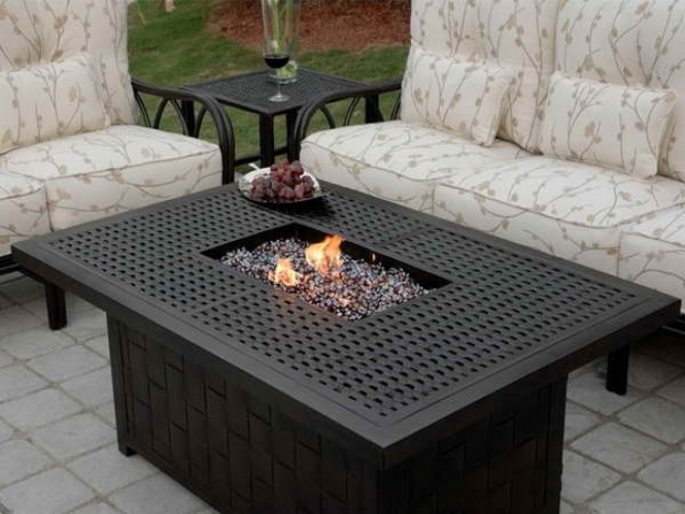 Incredible Rectangle Fire Pit Table Patio Ideas Propane Fire Pit Coffee Table With Cream Cushion