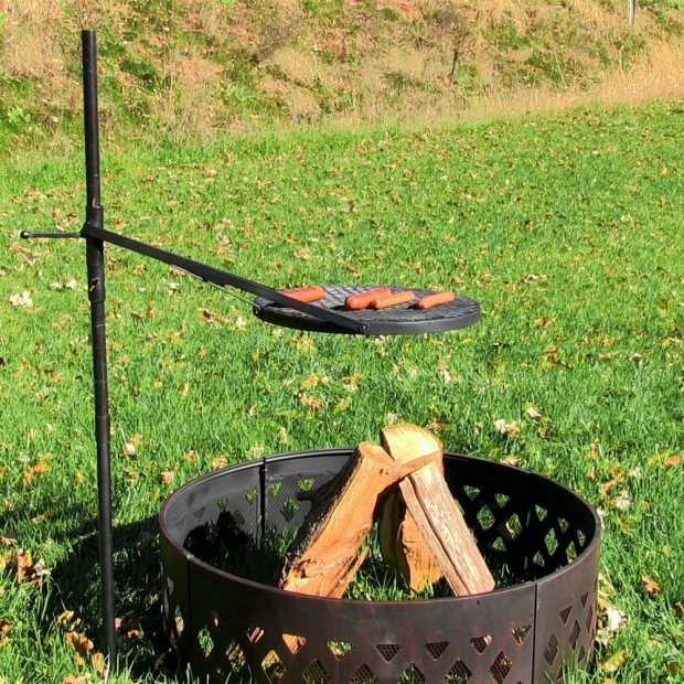 Marvelous Fire Pit Grate For Cooking Height Adjustable Rotating Outdoor Campfire Fire Pit Cooking Grill