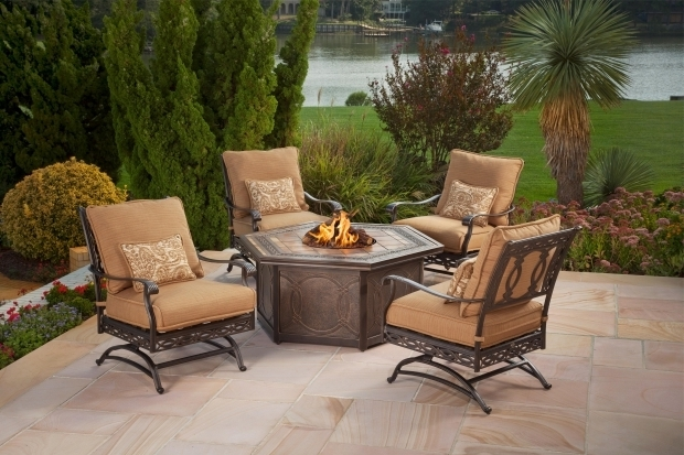 Stunning Fire Pit Chat Sets Agio Ashmost 5 Piece Spring Chair With Cushions And Firepit Chat