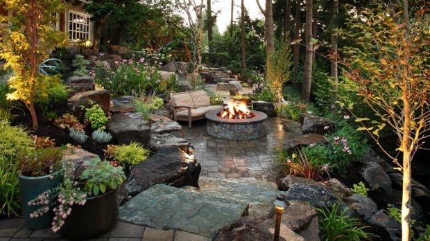 Stylish Woodland Fire Pit Photos Alderwood Landscaping Hgtv