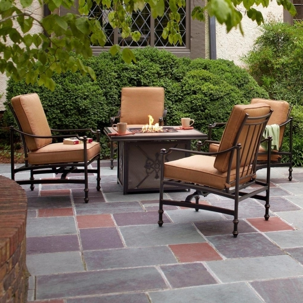 Alluring Fire Pit Seating Sets Hampton Bay Niles Park 5 Piece Gas Fire Pit Patio Seating Set With