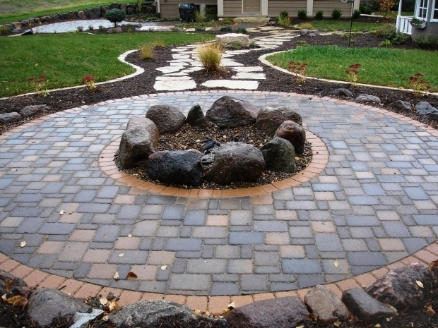 Amazing Pavers For Fire Pit Fire Pits Cobble Pavers With Boulder Firepit Fire Pit