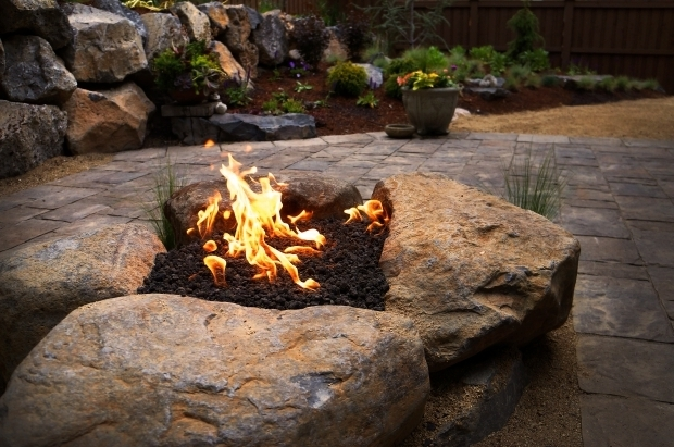 Beautiful Boulder Fire Pit Paver Patio Gas Fire Pit In Nw Bend Oregon