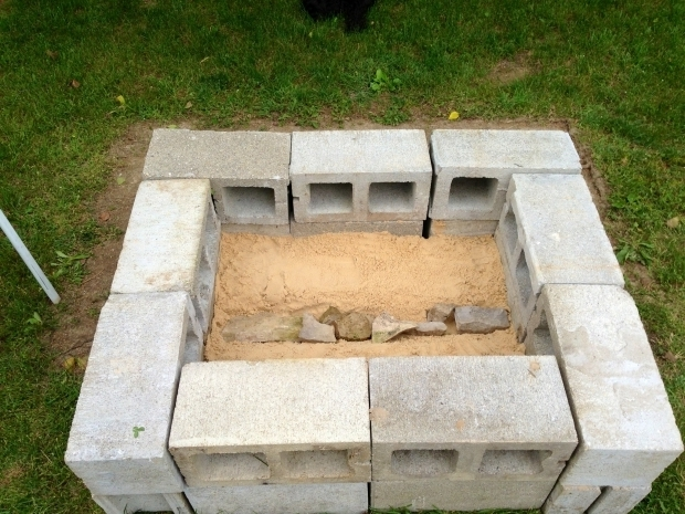 Beautiful How To Make A Cinder Block Fire Pit Cinder Block Fire Pits Outside We Filled The Bottom With 2 Of