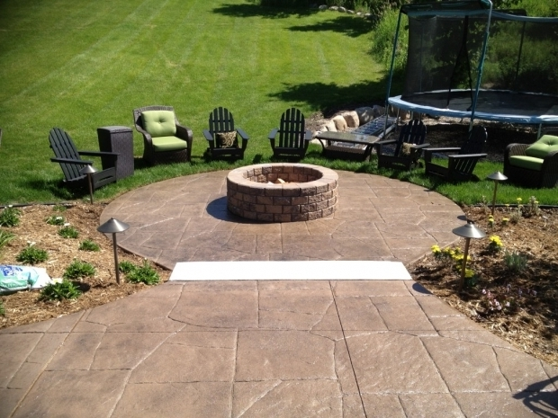 Delightful Stamped Concrete Patio With Fire Pit Stampedconcretepatio  Stamped Concrete Patio With Fire Pit Concrete