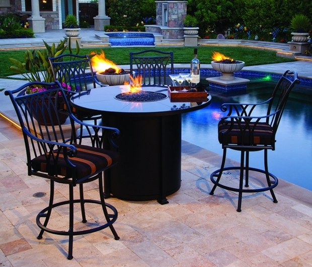 Gorgeous Bar Height Fire Pit Table Set California Patio Outdoor Fire Pits Fire Tables