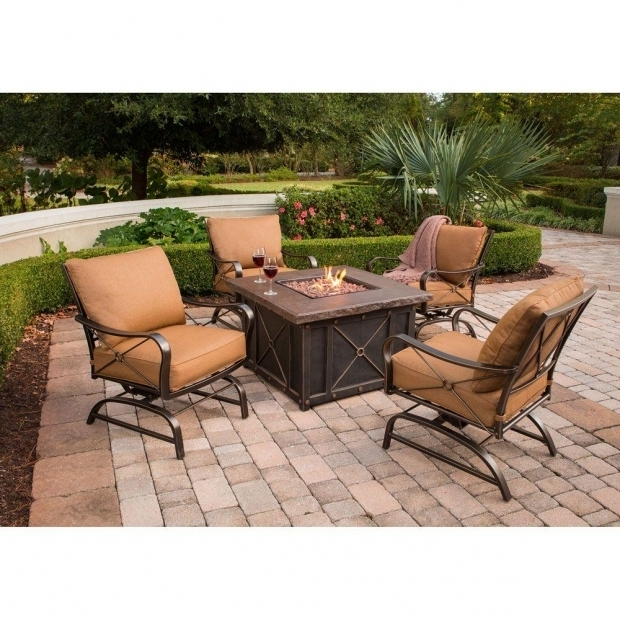 Gorgeous Fire Pit Seating Sets Hanover Summer Nights 5 Piece Patio Fire Pit Set With 4 Cushion
