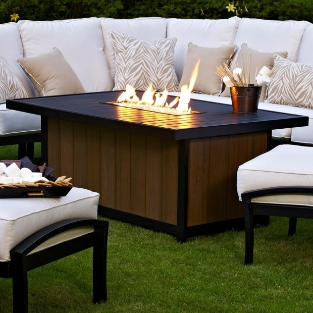 Image of Rectangular Propane Fire Pit Table Meadowcraft Maddux Slat Top Propane Firepit Table Charcoal