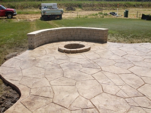 Image of Stamped Concrete Patio With Fire Pit Small Concrete Backyard Ideas Backyard Ideas Chicago Stamped