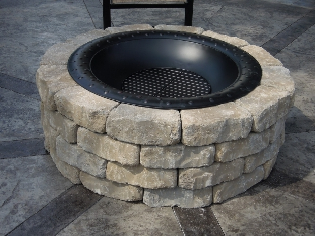 Incredible Fire Pit Ring Insert Immaculate White Stone Fire Pit Ring On Cement Pavers Backyards As