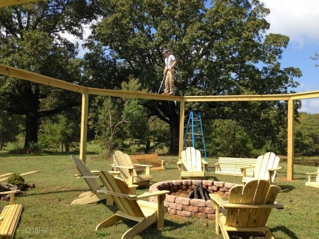 Outstanding Porch Swing Fire Pit Remodelaholic Tutorial Build An Amazing Diy Pergola And Firepit
