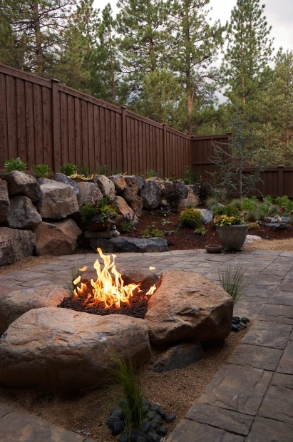 Stylish Boulder Fire Pit Paver Patio Gas Fire Pit In Northwest Bend Oregon Newport