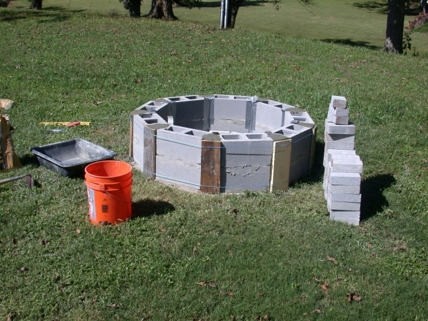 Stylish How To Make A Cinder Block Fire Pit Round Cinder Blocks Beginning Of Fire Pit Outsidelandscape