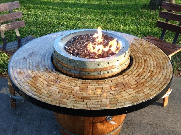 Wine Barrel Fire Pit Table