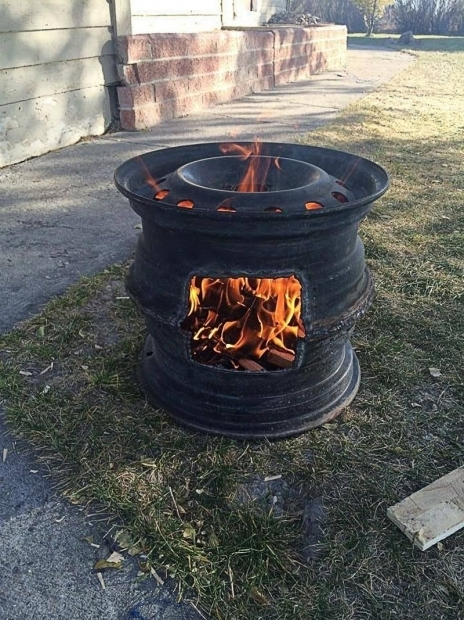 Alluring Tractor Rim Fire Pit How To Make Recycled Car Wheel Fire Pit Diy Crafts Handimania