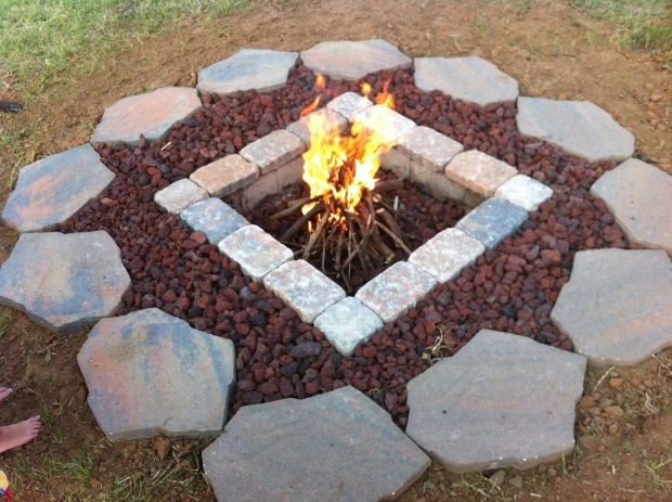 Awesome Fire Pit Lava Rocks Rumblestone Firepit With River Stone Surround  And Red Lava Rock - Fire Pit Lava Rocks - Fire Pit Ideas