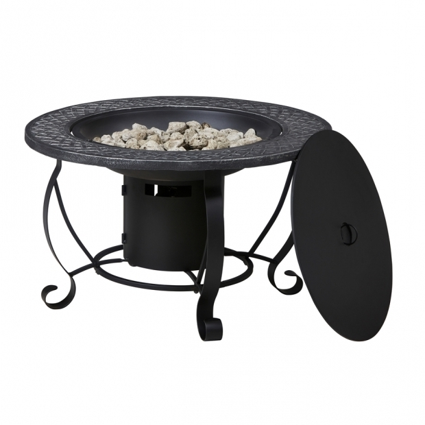 Awesome Garden Treasures Gas Fire Pit Shop Garden Treasures 299 In W 20000 Btu Black Steel Propane Gas