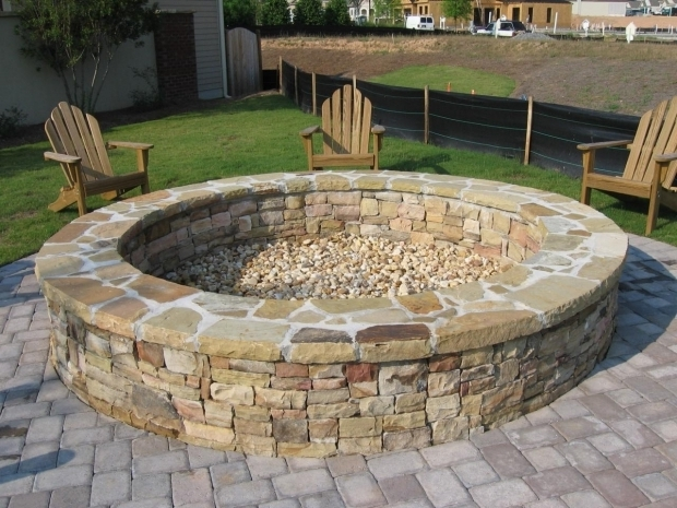 Delightful Stacked Stone Fire Pit Large Fire Pit Round Stone Fire Pit And Bench With Large Wooden