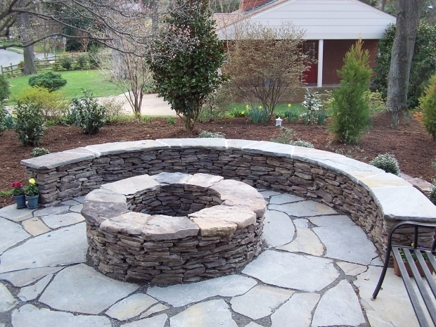 Delightful Stacked Stone Fire Pit Stacked Stone Firepit With Flagstone Cap Fireplaces And Firepits