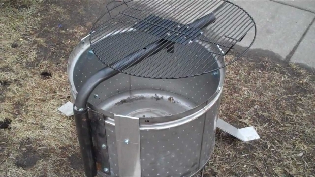 Delightful Washer Drum Fire Pit For Sale Stainless Steel Washer Drum Fire Pit With Grill Youtube