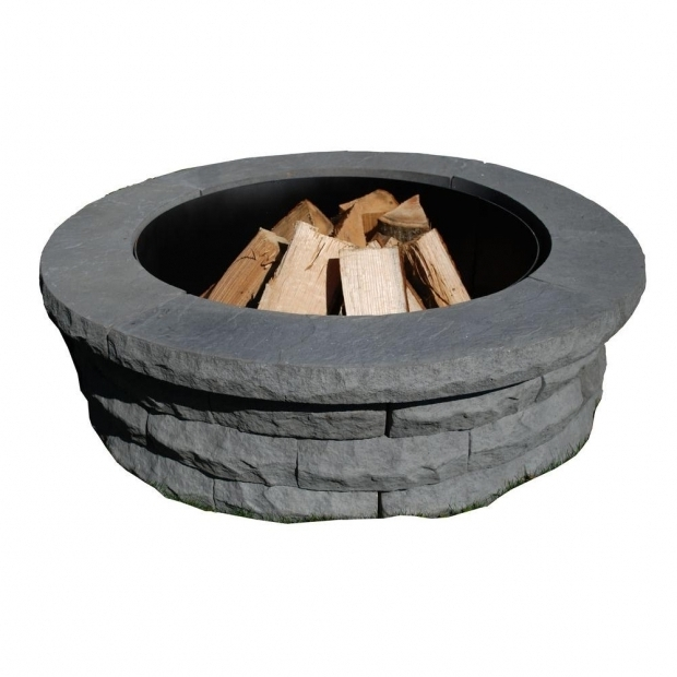 Gorgeous Fire Pit Ring Home Depot Nantucket Pavers Ledgestone 47 In Concrete Fire Pit Ring Kit Gray